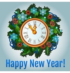 Clock with new year decorations vector image