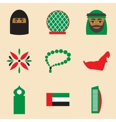 Concept flat icons on white background United Arab vector