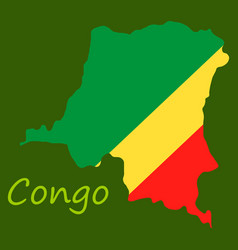 Congo map and flag in white background vector