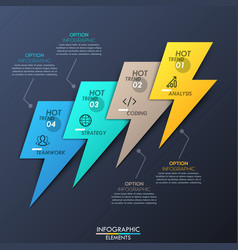 creative infographic design layout 4 multicolored vector image