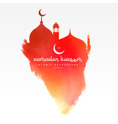Creative mosque design made with red paint vector