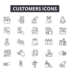 customers line icons signs set outline vector image