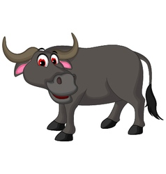 cute buffalo cartoon posing for you design vector image
