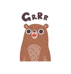 Cute cartoon bear wild animal making grrr sound vector