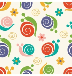 Cute pattern with snails and flowers vector image