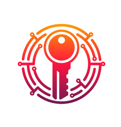 cyber security key icon network data secure vector image