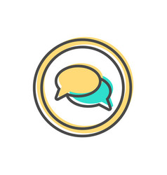 Data sorting icon with speech bubble sign vector