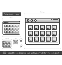 Data structure line icon vector image