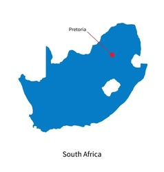 Detailed map of south africa and capital city vector