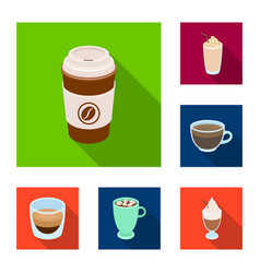 Different kinds of coffee flat icons in set vector