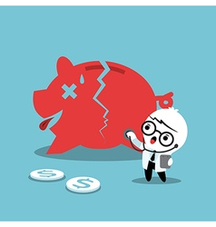 Doctor examining a broken piggy bank vector