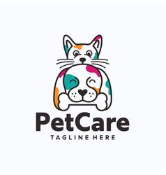 dog and cat logo template vector image