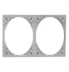 Double border are like mirror in this pattern vector