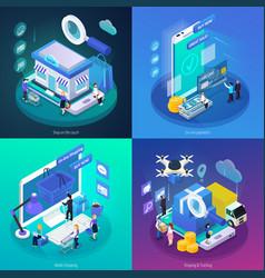 e-commerce glow isometric concept vector image