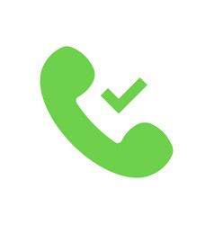 elephone handset symbol check mark green tick si vector image