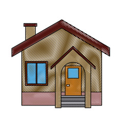 Facade house home stairs chimney door exterior vector