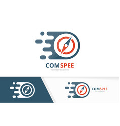 Fast compass logo combination speed vector