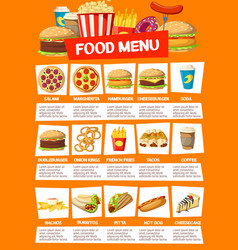Fast food cafe menu with meals and drinks vector