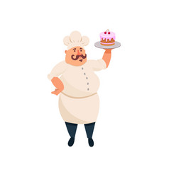 Fat cook holding delicious cake with pink icing on vector