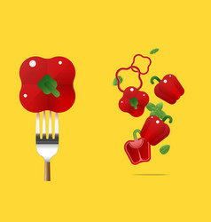 fresh red bell peppers background vector image