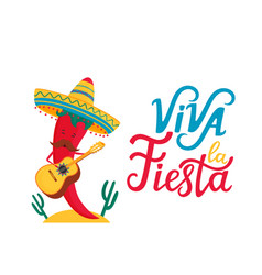 funny chili pepper in sombrero plays traditional vector image