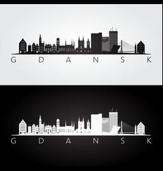 Gdansk skyline and landmarks silhouette vector