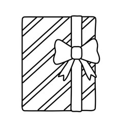 Gift box icon black and white vector