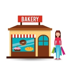 Girl bakery shopping gift buying vector