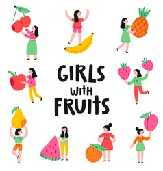 Girls with fruits vector image