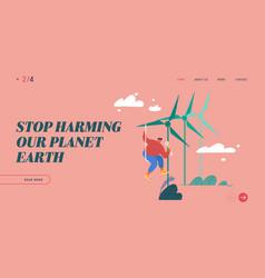 Global warming website landing page worker doing vector
