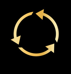 gold recycle arrow gold simple modern vector image
