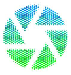 Halftone blue-green shutter icon vector