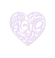 heart curl love lettering design element vector image