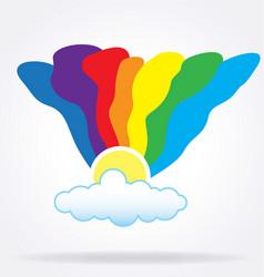 hippie rainbow sun cloud vector image