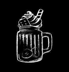 Ice coffee cream white chalk on black chalkboard vector