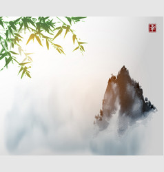 Ink wash painting with green bambpp tree high vector