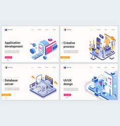isometric app development technology vector image