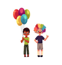 Kids at birthday party holding balloons wearing vector