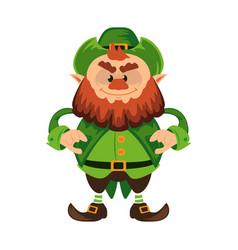 leprechaun cartoon character or angry green dwarf vector image