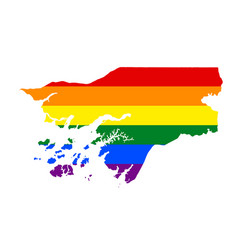 lgbt flag map of guinea bissau rainbow map of vector image