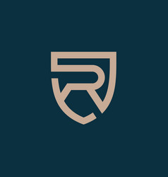 Luxury letter r shield logo icon template vector