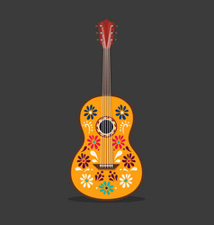 Mexican guitar with ornament cartoon music vector