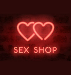 Neon sex shop sign red glowing hearts vector
