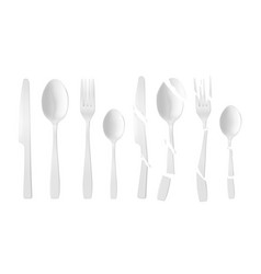 new and broken white plastic cutlery vector image