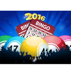 New Years Bingo balls and cards background vector