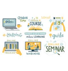 Online education set tutorial seminar webinar vector
