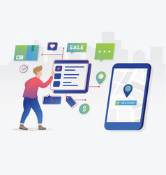online shopping concept with character vector image