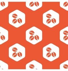 Orange hexagon coffee pattern vector