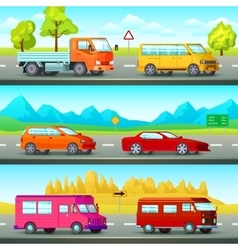 Orthogonal Cars Banners Set vector