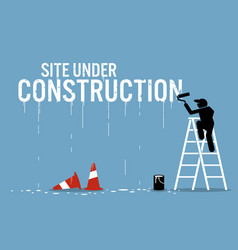 Painter painting the word site under construction vector